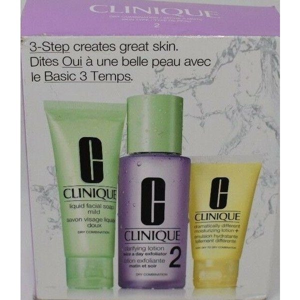 Clinique 3-Step Creates Great Skin Type 2 Dry Combination Skin Type Facial Soap 50Ml/Clarifying Lotion 2 100Ml/Moisturizing Lotion + 30Ml