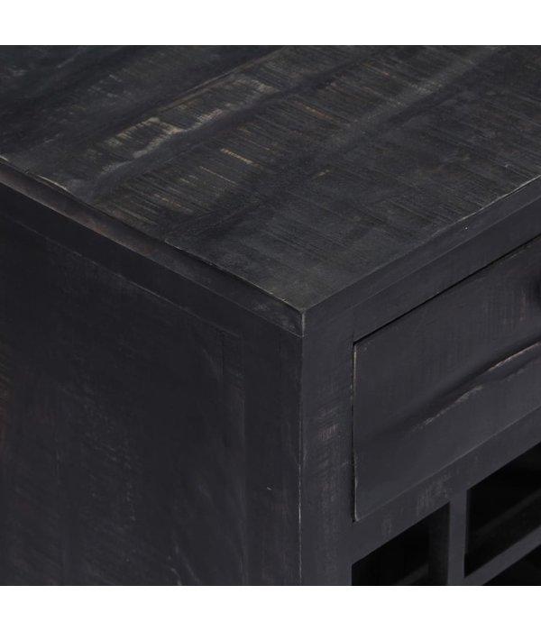 vidaXL Wijnrek 56x35x75 cm massief mangohout zwart