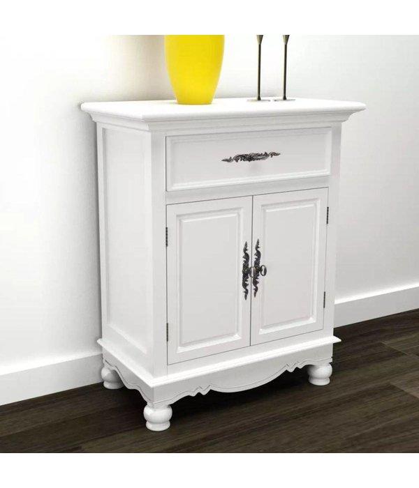 vidaXL Kastje met 2 deurtjes en 1 lade wit hout - Retourdeal