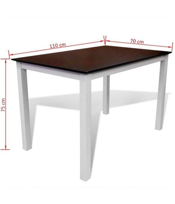 vidaXL Eettafel 110 cm massief hout bruin en wit - Retourdeal