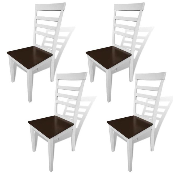 Eetkamerstoelen massief hout bruin en wit 4 st - Retourdeal