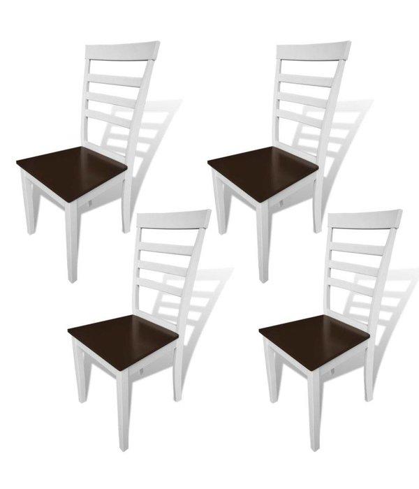 vidaXL Eetkamerstoelen massief hout bruin en wit 4 st - Retourdeal