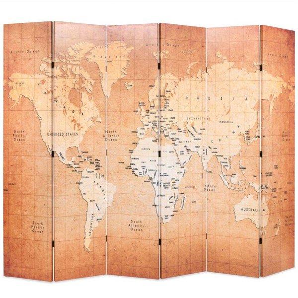 Kamerverdeler inklapbaar wereldkaart 228x180 cm geel - Retourdeal