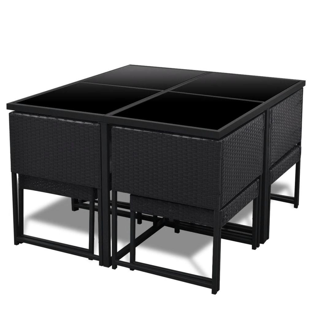 Wicker Eettafel Set Met 8 Stoelen En 4 Krukken Zwart.Vidaxl 9 Delige Tuinset Met Kussens Poly Rattan Zwart Voordeeltrends