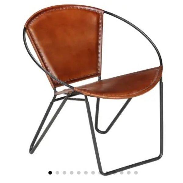 Relaxstoel 69x69x69 cm echt leer bruin