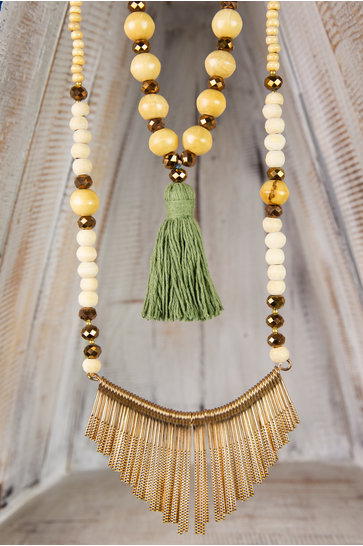 Long Necklace Ornament - Army Green