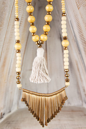 Long Necklace Ornament - Taupe
