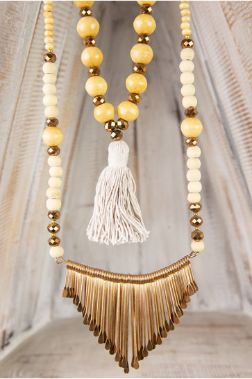 Collier Long Ornement - Taupe