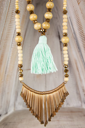 Collier Long Ornement - Turquoise