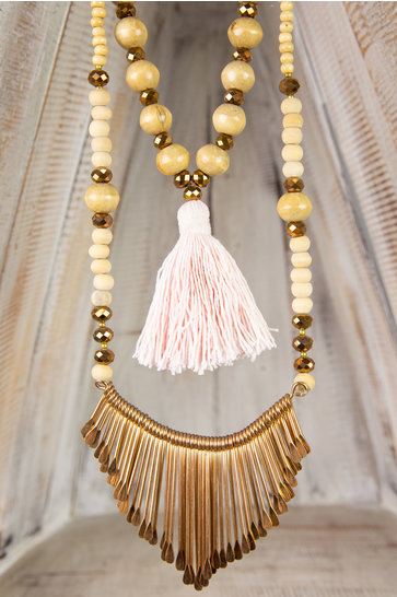 Collier Long Ornement - Rose Clair