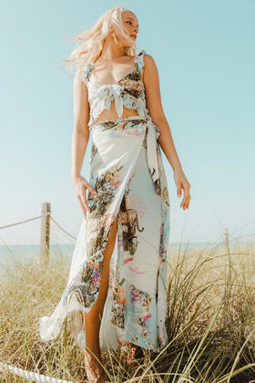Maxi Wrap skirt Floresta Sky