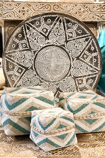 Bamboo Basket Aztec Beads Turquoise