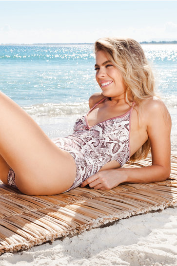 Swimsuit Halter Claudia Python Brown