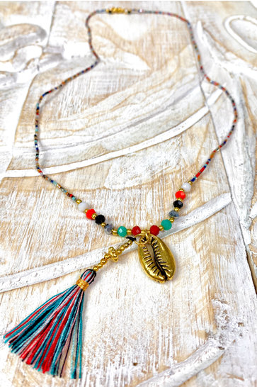 Necklace Short Gold Shell Multi