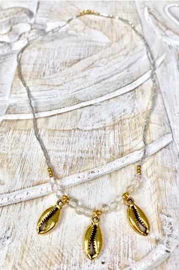 Halsband Goldene Muscheln Silber
