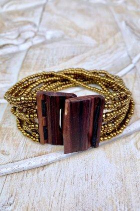 Armband Holz Gold
