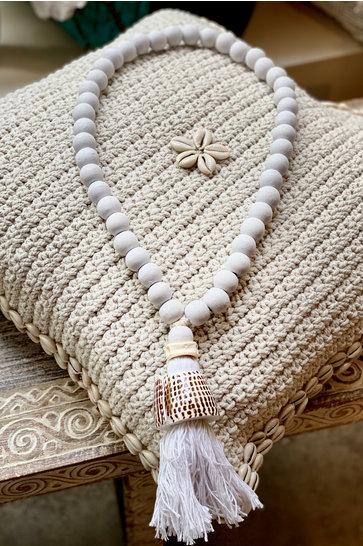 Holz Anhänger Muschel Bali Weiß