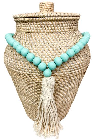 Deko Halskette Perlen Türkis