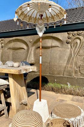 Balinesischer Sonnenschirm 100 cm Weiß / Gold