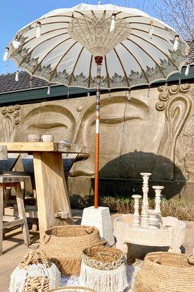 VORBESTELLUNG Balinesischer Sonnenschirm 200 cm Weiß / Silber