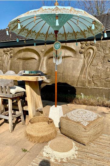 VORBESTELLUNG Balinesischer Sonnenschirm 200 cm Aqua / Gold