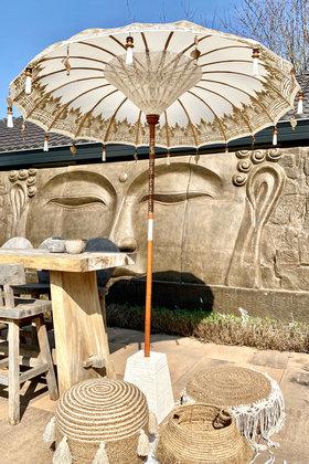 Balinese Parasol 200cm Wit/Goud