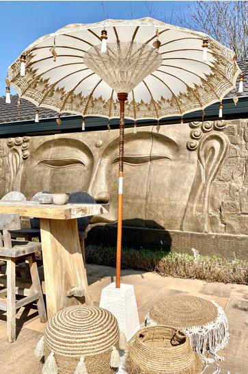 Balinesischer Sonnenschirm 200 dm Weiß / Gold