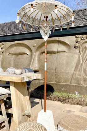 Balinesischer Sonnenschirm 100cm Weiß / Silber