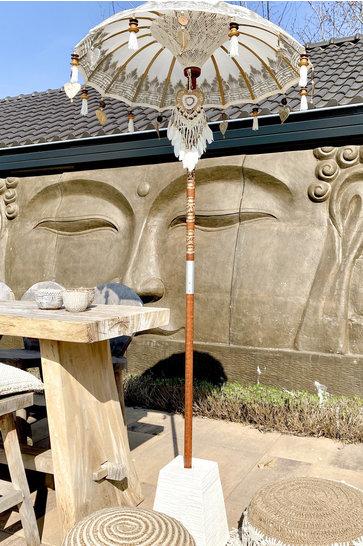 Balinesischer Sonnenschirm 100 cm Weiß / Silber