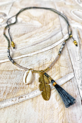 Necklace Short Golden Feather Gray