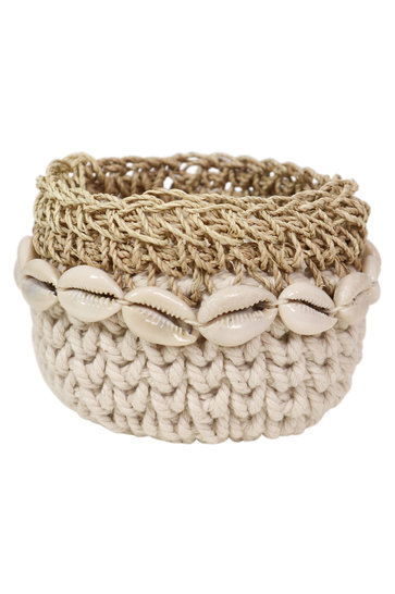 Cesta Crochet Boho Natural