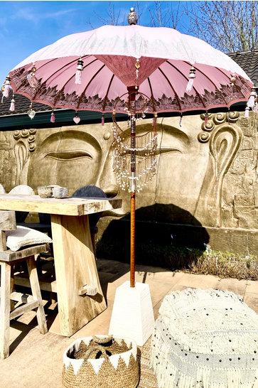 VORBESTELLUNG Balinesischer Sonnenschirm 200 cm Pink / Silber