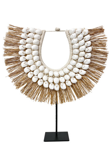 Shell Necklace On Standard Raffia White 45cm
