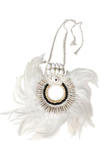 Feather Pendant Bali White