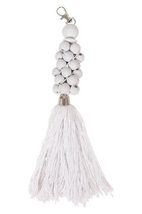 Wooden Keychain Beads White