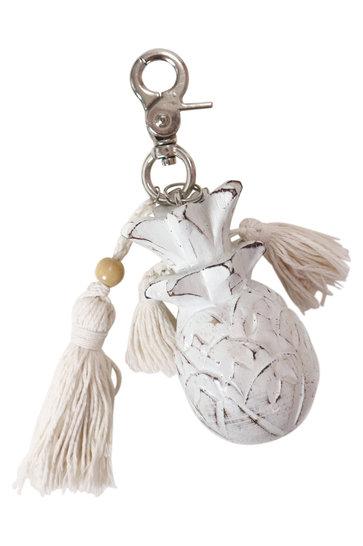 Wooden Keychain Pineapple White