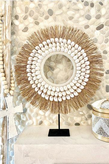 Shell Ornament On Standard Raffia White 55cm