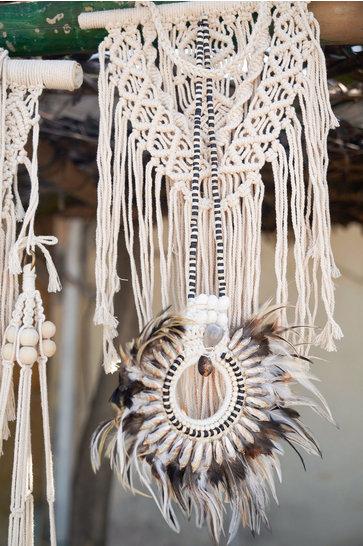Feather Pendant Bali Dark brown
