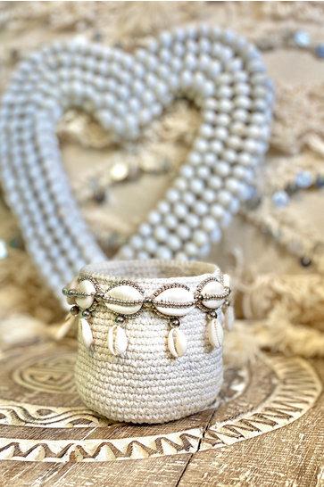 Panier Perles Bali Ecru