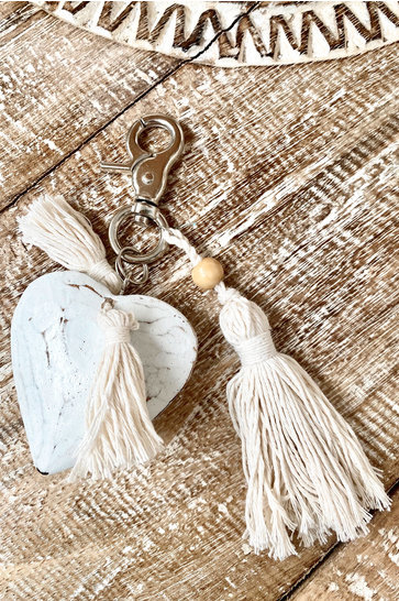 Wooden Keychain Heart White