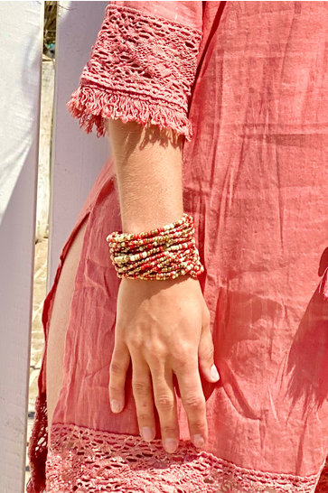 Brede Armband Hout Indian Red