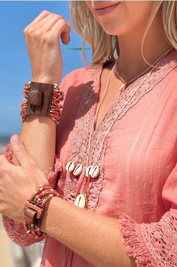 Bracelet Wood Indian Red