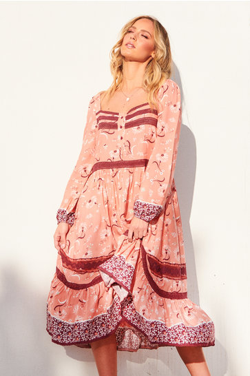 Midi Dress Christy Print Honey Peach