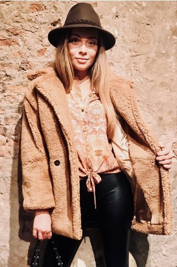 Teddy Coat Nova Camel