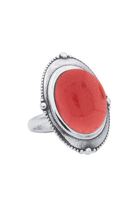 Ring Spheres Indian Red Zilver