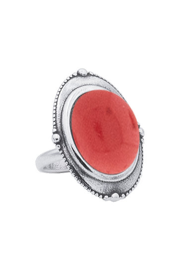 Ring Spheres Indian Red Silver