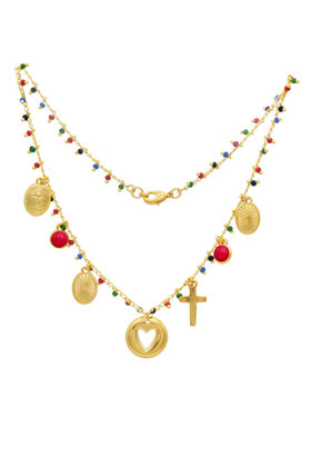 Necklace Riviera Perle Rouge Gold
