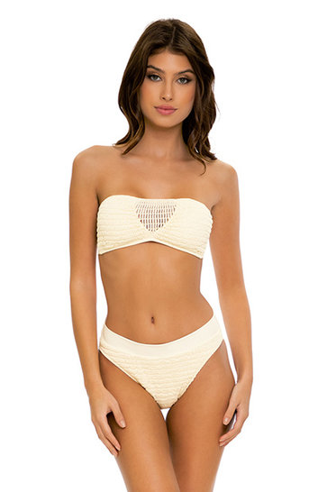 Bikinihose Hohe Taille Sandy White