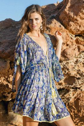 Robe Courte Piscine Bleu Cobalt