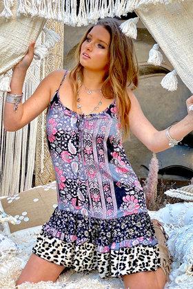 Kurzes Kleid Tara Pink Leopard